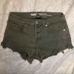 High Rise shorts with lace detail